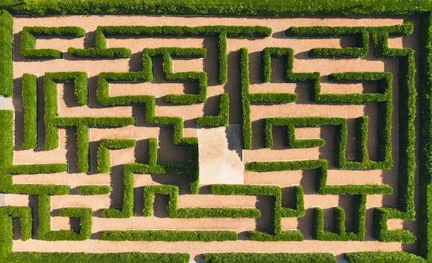 緑の迷路庭園の空撮。自然の背景。