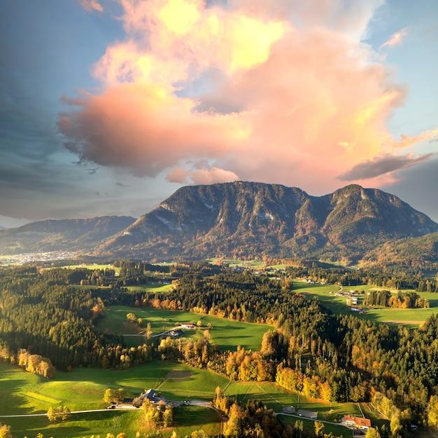 オーストリアのアルプス山脈の村や森のある緑の牧草地の空撮。