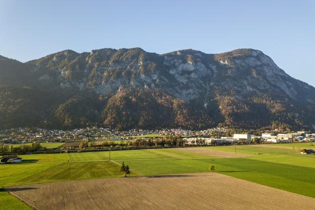 村とオーストリアのアルプス山脈の森と緑の牧草地の空撮。