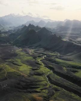 アイスランドのハイランドの空撮