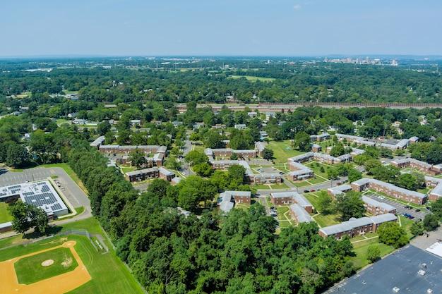 ニュージャージー州イーストブランズウィックの住宅街、住宅の航空写真