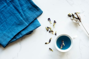 Aerial view of hot butterfly pea tea drink
