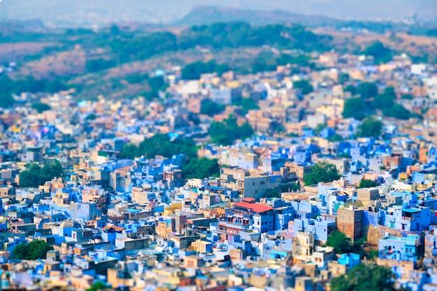 Аэрофотоснимок джодхпур синий город. джодфур, раджастхан, индия