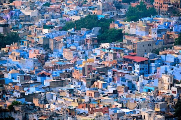 ジョードプルブルーシティの空撮ジョドファーラジャスタンインド