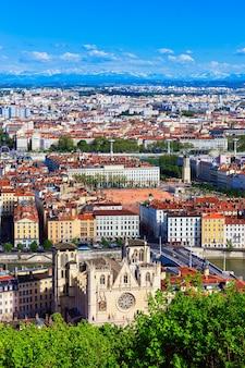 リヨン市、フランスの空撮