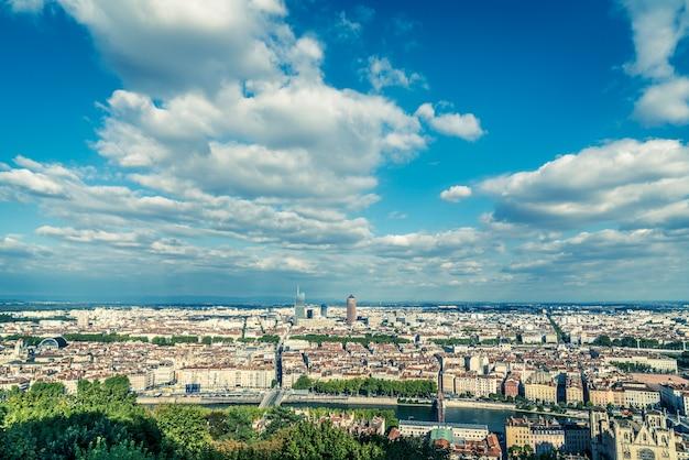 리옹 프랑스, 유럽의 공중 전망.