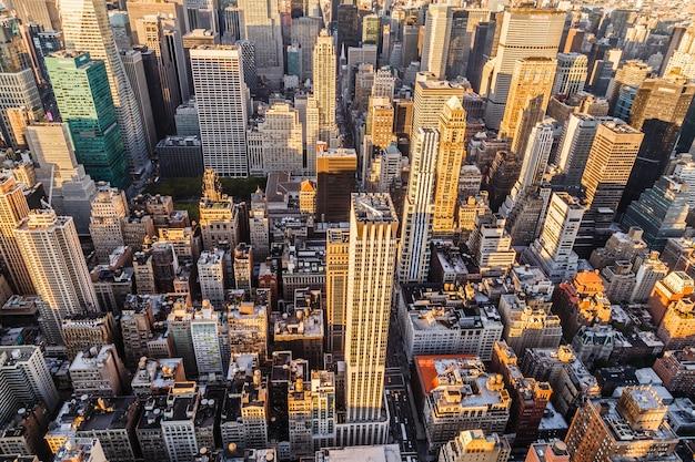 위에서 맨하탄 뉴욕시 맨하탄의 항공 보기
