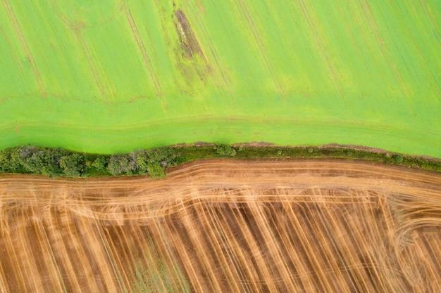 Вид с воздуха на луга и поля, зеленое поле