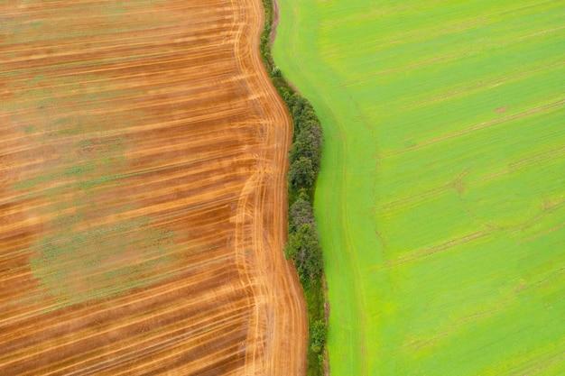 牧草地と野原、緑の野原の空撮