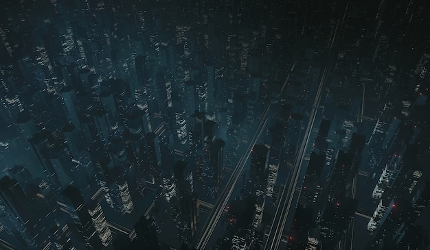 Вид с воздуха на мегаполис ночью