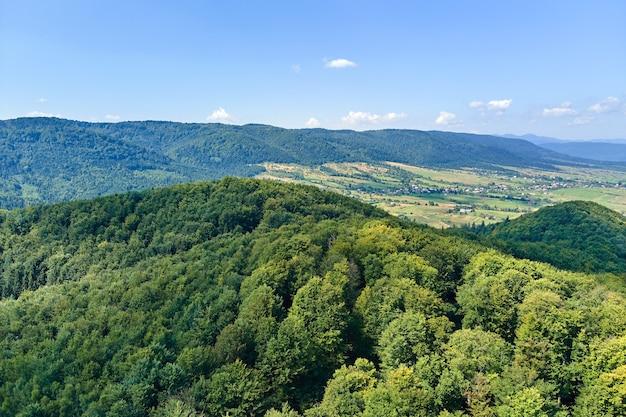 Вид с воздуха на горные холмы, покрытые густыми зелеными пышными лесами в яркий летний день.