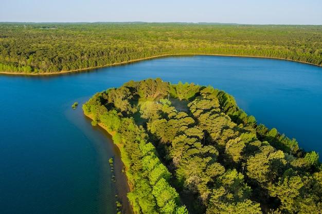 화창한 여름 날 숲 파노라마에 자연 연못의 항공보기