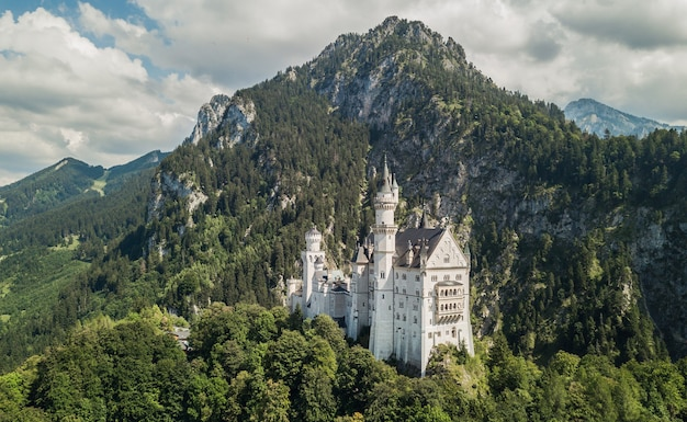 Вид с воздуха на замок нойшванштайн в баварии