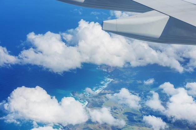 비행기에서 뉴질랜드의 공중보기. 여행 컨셉