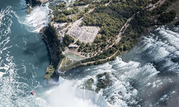 夏のナイアガラの滝の空撮