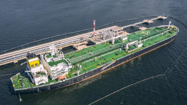 港の石油タンカーの航空写真