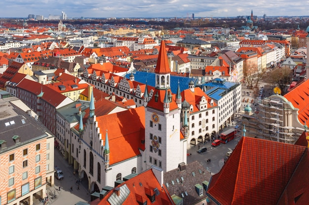 旧市街、ミュンヘン、ドイツの空撮
