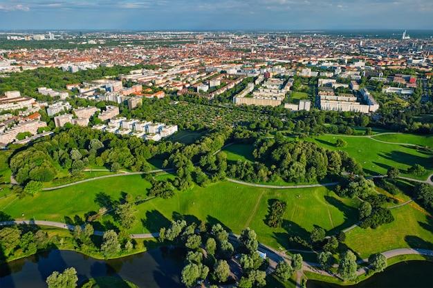 Аэрофотоснимок олимпийского парка. мюнхен, бавария, германия