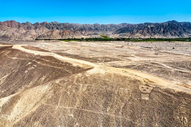 페루의 palpa geoglyphs의 항공 보기