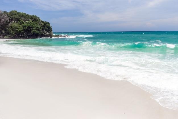 水が岸に流れ込むときにビーチに立っている人の航空写真