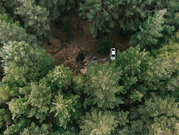 Pne 상록 숲과 흰색 자동차의 공중 전망. 자연에 캠핑. 지속 가능한 지역 여행. 회복 적 탈출. 고품질 사진
