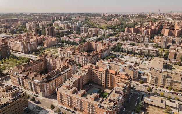 マドリードの住宅街の航空写真