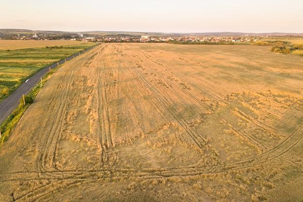 風の小麦の頭によって壊れて倒れた状態で収穫の準備ができている熟した農地の航空写真。被害を受けた作物と農業の失敗の概念。