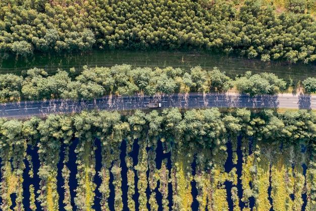 森と木々の間の道路の空撮。近くの沼