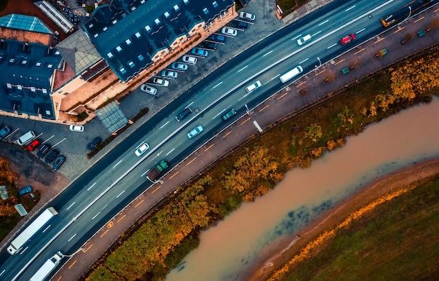 シギショアラの道路の航空写真