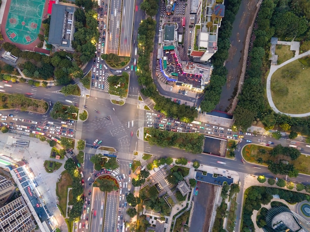 광저우 시내 중심 도로의 항공보기