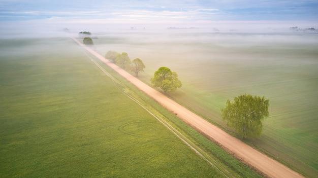 시골 비포장도로와 안개로 덮인 나무의 공중 전망. 안개 낀 이른 아침 파노라마. 봄 여름 필드입니다. 비오는 흐린 변덕스러운 날씨. 벨로루시, 민스크 지역