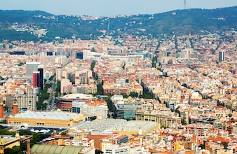 Aerial view of Sants-Montjuic  district. Barcelona