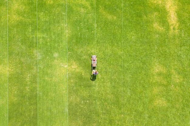깎는 기계로 푸른 잔디를 다듬는 남자 노동자의 작은 그림의 공중 보기