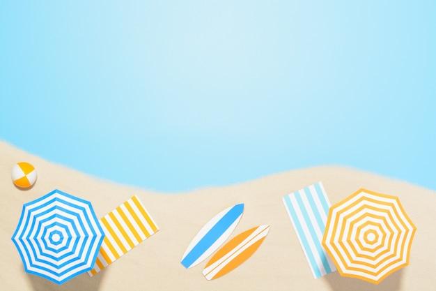 복사 공간 비치 리조트의 공중 전망. 모래에서 여름 휴가를위한 액세서리