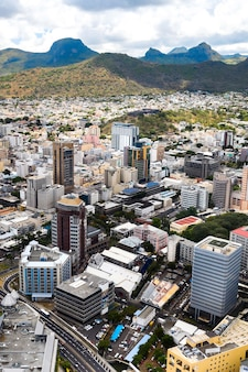 ポートルイス、モーリシャス、アフリカの街の航空写真。