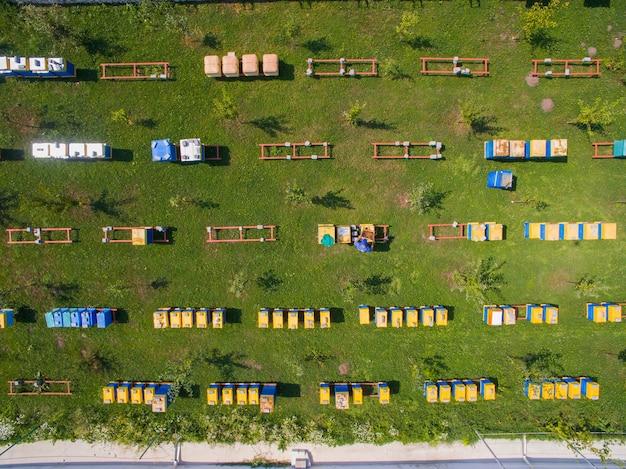 養蜂場の偉大な産業の航空写真