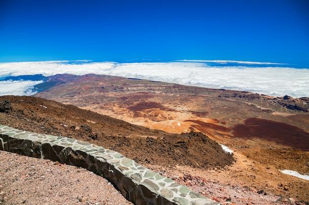 Вид с воздуха на пейзаж с вулканической горы тейде на тенерифе, испания