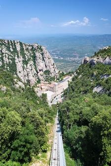 モントセラト修道院の航空写真。 santa maria de montserratは、スペイン、カタルーニャのmonistrol demontserratにあるmontserratの山にあるベネディクト会修道院です。