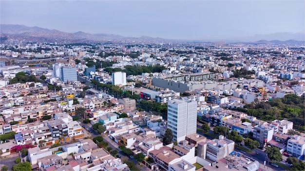 ペルー、リマ市のミラフローレス市の航空写真