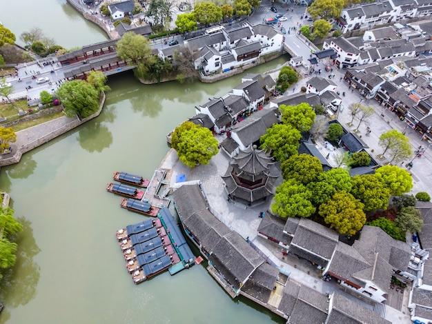 蘇州、シャンタン古代の町の古い埠頭の航空写真