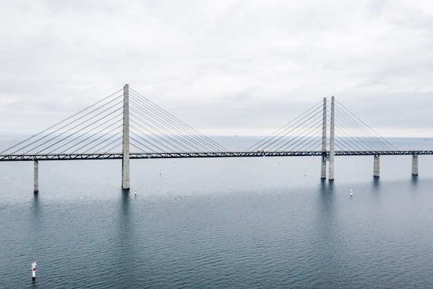 デンマークとスウェーデンの間のエーレスンド橋、エーレスンドブロンの航空写真