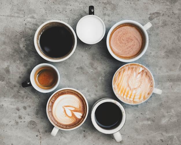さまざまなコーヒーの航空写真