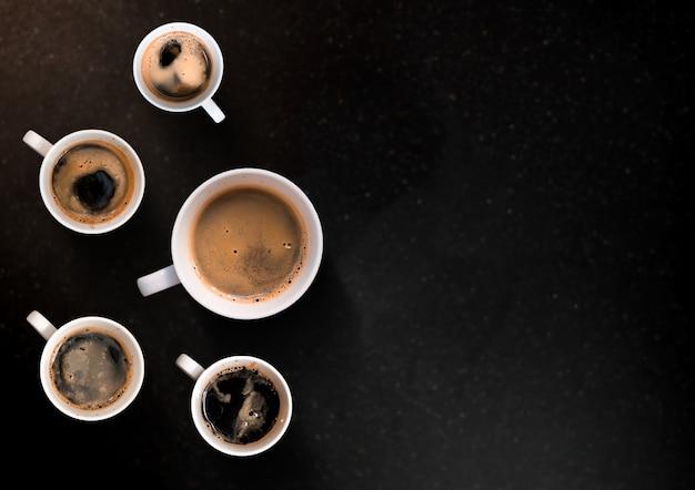 Вид с воздуха на различные кофе