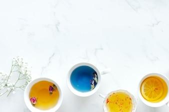 Aerial view of various hot tea drinks