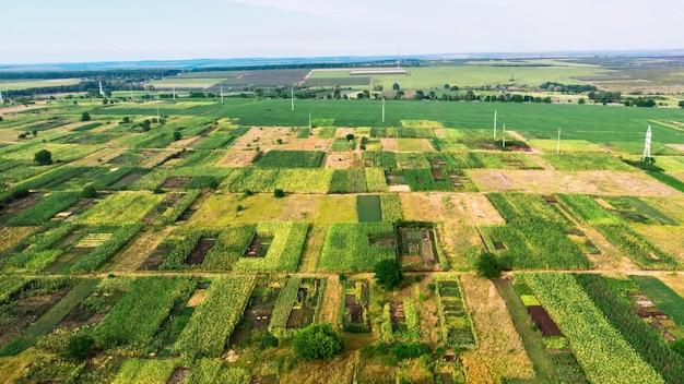 Вид с воздуха на зеленые поля различных размеров