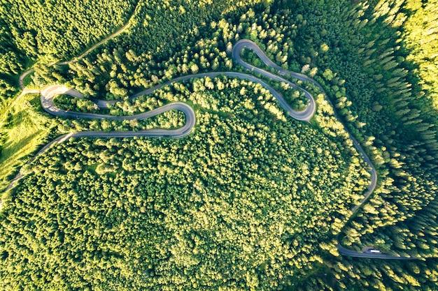Аэрофотоснимок извилистой дороге в высокой горный перевал через плотные зеленые сосновые леса.