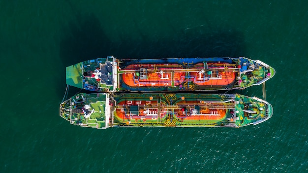 Aerial view oil / chemical tanker in open sea
