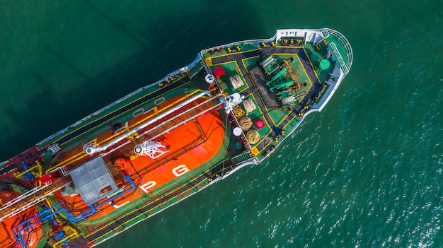 Aerial view oil and gas chemical tanker in open sea