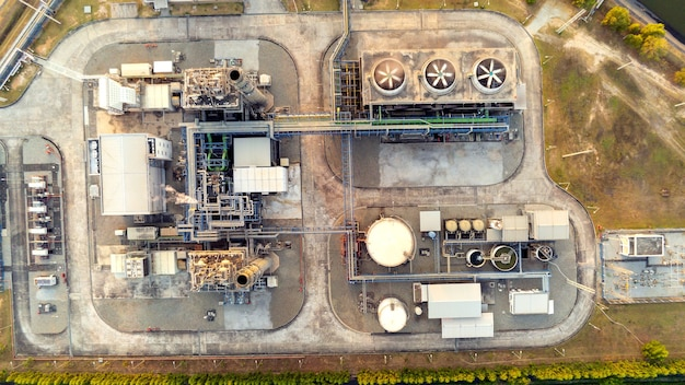 Aerial view of oil and gas industry  facility for storage of oil and petrochemical products.refinery oil and gas factory power and fuel energy.engineering concept.