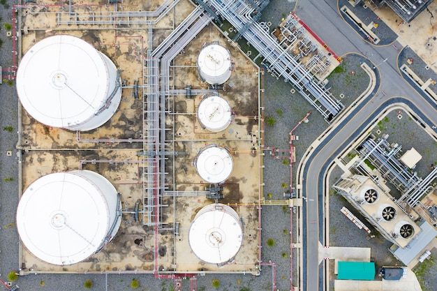 Aerial view of oil refinery plant and chemical plant form in industry zone